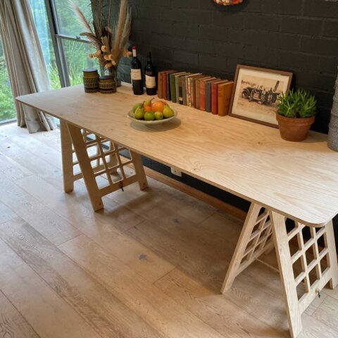 Plywood Trestle Table